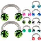 2Pcs horseshoe circular earring eyebrow tragus rings 9CRO-SELECT DESIGN&SIZE