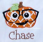 Boy Infant Toddler Personalized Pumpkin Glasses Embroidered T-Shirt Long Sleeve