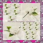 WEDDING FLOWERS BUTTONHOLE SINGLE SILK CARNATION WHITE WITH OR WITHOUT BOW