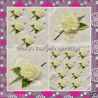 WEDDING FLOWERS BUTTONHOLE SINGLE SILK CARNATION IVORY WITH OR WITHOUT BOW