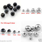 100x Stainless Steel Ball Beads Fit Ear Lip Nose Navel Ring Piercing Accessories