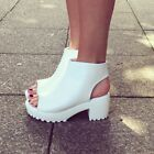 NEW BOUTIQUE WHITE PEEP TOE PLATFORM ANKLE BOOTS BLOGGERS