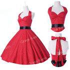 ❤2014 New❤ Retro 50s 60s Tea Party Polka Dot Rockabilly Swing Pinup Floral Dress