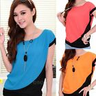 2014 New Womens Chiffon Blouse Short Sleeve Casual Tops Shirt Blouse + Necklace