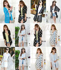 Summer Womens Beach Loose Kimono Cardigan Shirt Blouse Top Cover up Black White
