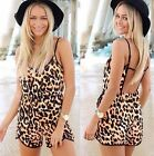 2014 Summer Sexy Women Leopard Celeb Backless Playsuit Beach Jumpsuit Shorts