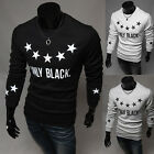 Men's Korean Print Round Collar Casual T-Shirts Sexy Long Sleeve Tee Shirts Tops