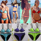 Womens Waterproof Neoprene Triangle Bikini Swimsuit Swimwear Holiday Beachwear