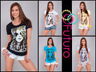 Women's Casual Top EXOTIC Print ☼ Scoop Neck Cotton Party T-Shirt Sizes 8-14 B13