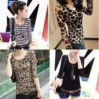 Ladies Slim Blouses Long Sleeve Tops Sexy Bottom Shirt Slinky T-Shirt Multicolor