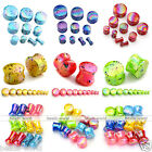 2x Acrylic Colorful Dots Solid Ear Flesh Saddle Plugs Expander Stretcher Earlets