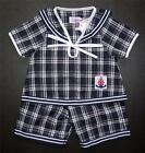 BABY BOY OUTFIT, Very Dark Blue & White Check Suit, Outfit, for Ages 0-4 Years
