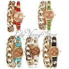 Punk Women Gold Dial leather Chain Wrap Analog Quartz Wrist Watch Bracelet HOT