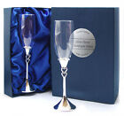 2 SILVER HEARTS CHAMPAGNE FLUTES LUXURY BOX Superb Anniversary Wedding Gift NEW