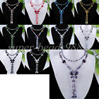 """Crystal Quartz Butterfly Beads Pendant Necklace Long Chain 27"""" Jewelry SBF004"""