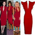 Sexy V neck Ruffle Sleeve Slim bodycon Celeb Bandage Long Women cocktail dress
