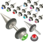 2P Steel fake ear plugs gauges gems cheater earring stretching 9COV-SELECT COLOR