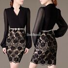 Women's Long Sleeve V Neck Sexy Clubwear Party Cocktail Lace Mini Dress BE0D
