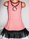 GIRLS CORAL BLACK TASSELS TRIM WINTER KNIT PARTY DRESS with NECKLACE