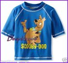 SCOOBY DOO TOP SHIRT BOYS SWIM SUN RASH GUARD SZ 4 5 6 7 BLUE UV PROTECTION NEW