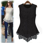 Chic Hollow Out Lace Floral Sleeveless Womens Casual Vest Top Shirt Blouse 7063
