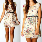 Womens Retro Floral Butterfly Print Party Cute Summer Skater Swing Mini Dress