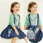 2PC Baby Girls Kids Rabbit Tops+Dot Denim Overalls Dresses Skirts Outfit Clothes