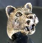 BRONZE ANIMAL RING TEETH SHOWING LIONESS FEMALE LION SAFARI ANTIQUED ANY SIZE