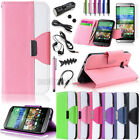 Hybrid PU Leather Wallet Hard Card Case Flip Cover Stand for HTC ONE M8 (2014)