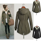 NEW LADIES HOODED PARKA FLEECE TOP SIZE 8-16 WINTER WARM WOMENS LONG JACKET COAT