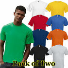 Mens 2 Pack Fruit of the Loom Original Full Cut T Shirt 10 tshirt Colours
