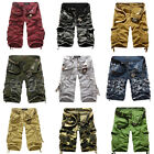 Mens Army Casual Combat CAMO Cargo Work Wear Shorts Cotton Knee Trousers Pants