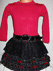 GIRLS DARK PINK KNIT BLACK GREY RED MIX WOOLLY WINTER PARTY DRESS with BELT