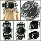 UK1430 Oversize Shiny No. Punk Watch Rock Men/Lady Heavy Ring n Chain Leather
