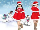 Girl Christmas Dress + Hat +Pants Belt Velvet Santa Dress Red Holidays Clothing