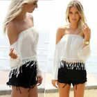 Women Long Sleeve Off Shoulder Chiffon Blouse Strapless Boho Sexy Crop Top Shirt