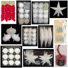 WHITE Collection Christmas Decorations Baubles Stars Cones Tinsel Tree Topper