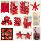 RED Collection Christmas Decorations Baubles Stars Cones Tinsel Tree Topper