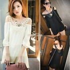 Women Crochet V-Neck Off-shoulder Tops Chiffon Sheer Blouse Shirt Oversized