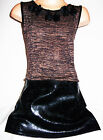 GIRLS BROWN KNIT BLACK LEATHER LOOK PVC SKIRT PETALS TRIM PARTY DRESS