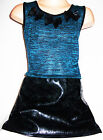 GIRLS TEAL BLUE KNIT BLACK LEATHER LOOK PVC SKIRT PETALS TRIM PARTY DRESS