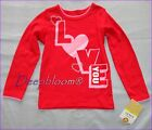 CARTER'S TOP SHIRT GIRLS LONG SLEEVE GREEN 3T 4T 4 5 6 LOVE YOU HEARTS RED NEW
