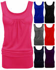 Womens Ladies Celeb Sleeveless Ruched Gathered Neck Plain Stretchy Long Vest Top
