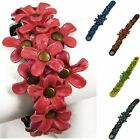 """Handmade"" Leather Flower Cuff Bracelet Adjustable 7 - 7.75 in Zinnia dga7"