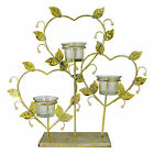 METAL HEARTS AND LEAVES TEALIGHT HOLDER - CHAMPAGNE COLOURED STANDING CANDLE