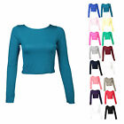 F50 LADIES LONG SLEEVE POLO STRETCH T SHIRT CROP TOP WOMENS GYM WEAR TOP 8-14