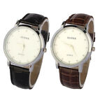 Mens Leatheroid Stainless Steel Case White Dial Quartz Watch Watches Brand New