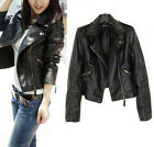 Women Biker Motorcycle Soft Leather Zipper Slim Vintage Black Jacket Coat Short