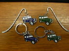 Landrover Keyrings Tie clips and Bookmarks in Blue or Green. Land Rover 4x4