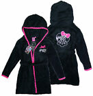 Girl's Monster High Hooded Dressing Gown Bath Robe Black 4 6 8 10 Years NEW